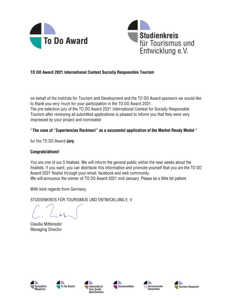TO DO Award finalista 2021 experiencias raramuri